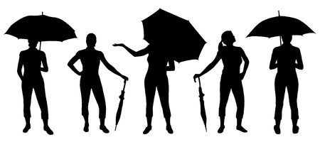 women with umbrella silhouettes on the white background