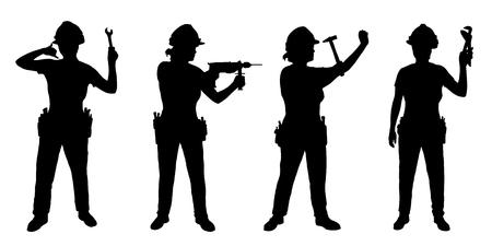 mujer trabajadora: Artesana siluetas en el fondo blanco Vectores