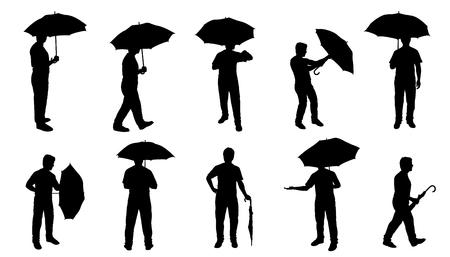 men with umbrella silhouettes on the white background Çizim