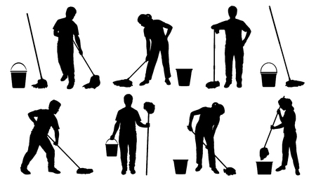 people with mob silhouettes on the white background Illustration