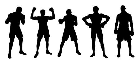 boxer silhouettes on the white background Çizim