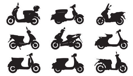 moped silhouettes on the white background Çizim