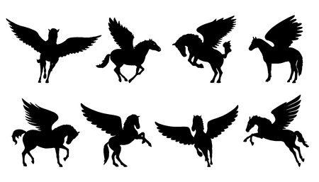 pegasus silhouettes on the white background Ilustração