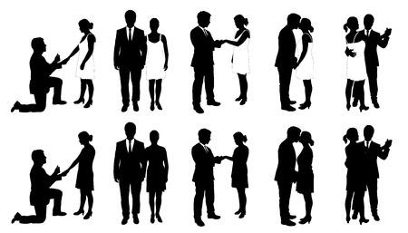 people and wedding on the white background Çizim