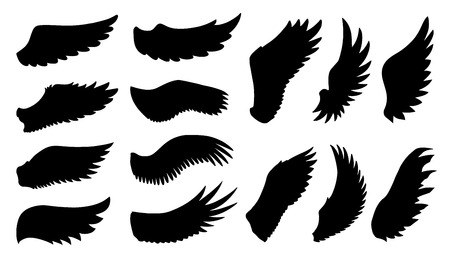 wings icon: wing silhouettes on the white background Illustration