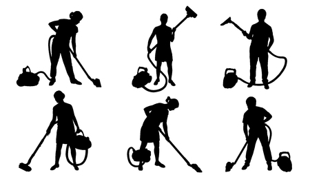 people and vacuum cleaner silhouettes on the white background