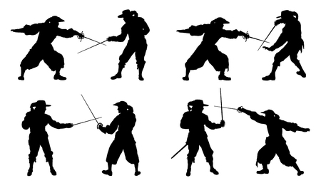 musketeer duel silhouettes on the white background