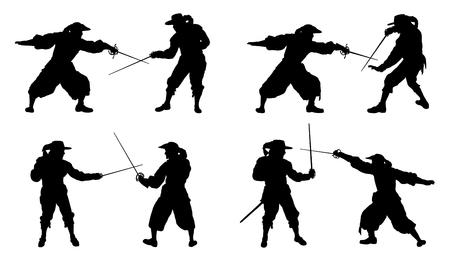mosquetero: siluetas duelo mosquetero en el fondo blanco