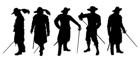 Musketier-Silhouetten auf dem weißen Hintergrund Illustration