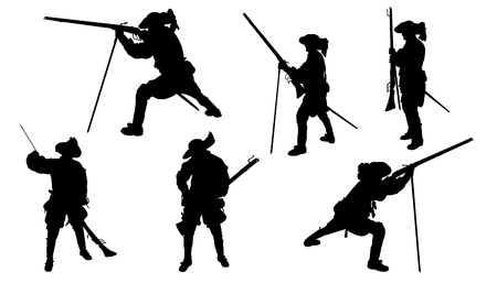musketeer with musket silhouettes on the white background Illustration