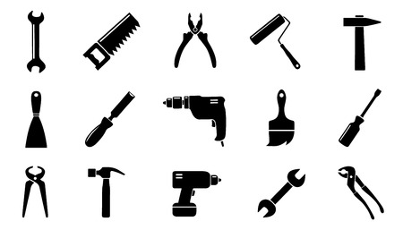 tool icons on the white background