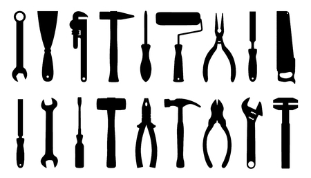 tool silhouttes on the white background