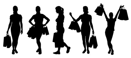women shopping silhouettes on the white background Çizim