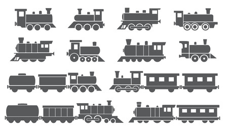 trains on the white background