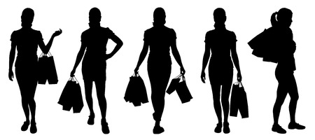 siluetas de mujeres: mujeres que compran siluetas sobre el fondo blanco Vectores