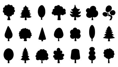 tree funny silhouettes on the white background Ilustração