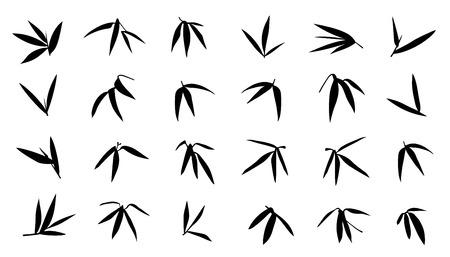 bambou: silhouettes de feuilles de bambou sur le fond blanc