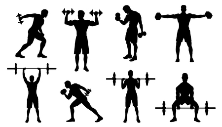 gym men silhouettes on the white background Çizim