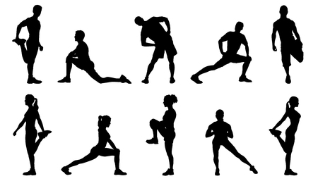 stretch silhouettes on the white background Ilustracja