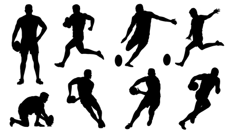 teammates: rugby silhouettes on the white background