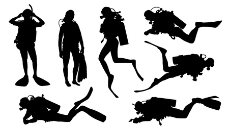 divers: diver silhouettes on the white background Illustration