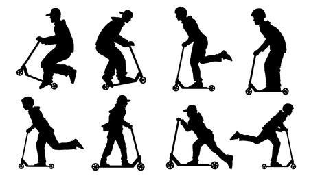 Patear siluetas scooter sobre el fondo blanco Foto de archivo - 53303569
