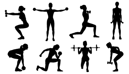 gym women silhouettes on the white background 向量圖像