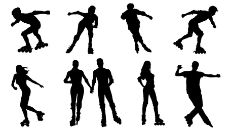 rollerskating silhouettes on the white background Ilustração