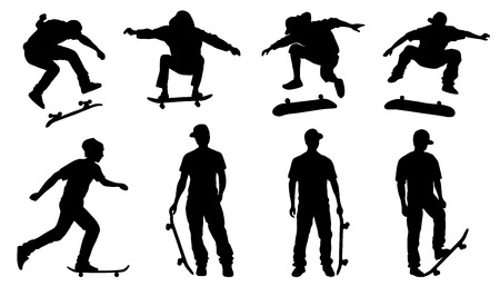 skateboarder silhouettes on the white background Vettoriali