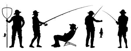 fisherman silhouettes on the white background Çizim