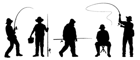 freshwater fish: fisherman2 silhouettes on the white background