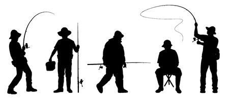 recreational fishermen: fisherman2 silhouettes on the white background