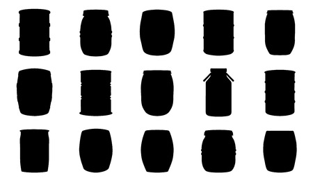 barrel silhouettes on the white background