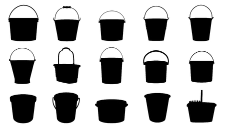 bucket silhouettes on the white background Ilustração