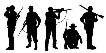 hunter silhouettes on the white background