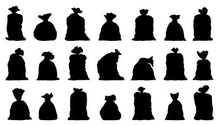 sackful: sack silhouettes on the white background