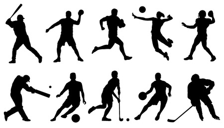 team sports action silhouettes on the white background Çizim