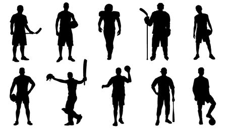 team sports standing silhouettes on the white background Ilustração