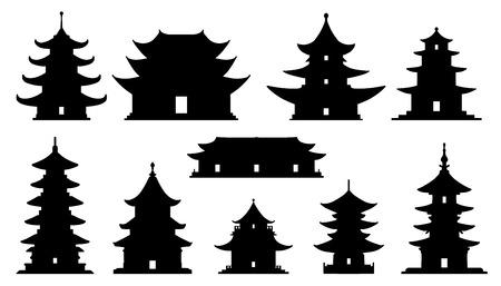 siluetas templo asiático en el fondo blanco Ilustración de vector