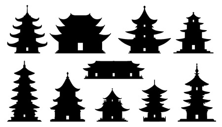 asian temple silhouettes on the white background