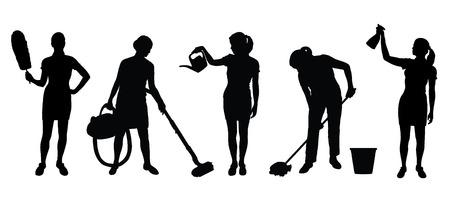 siluetas de mujer de la limpieza en el fondo blanco