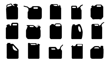 jerry can silhouettes on the white background