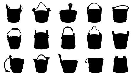 rural wooden bucket: old bucket silhouettes on the white background