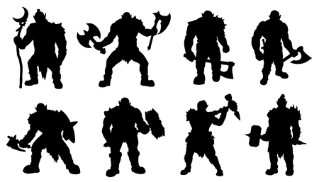 wizardry: orc silhouettes on the white background
