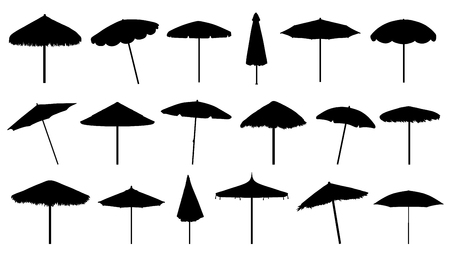 parasol silhouettes on the white background