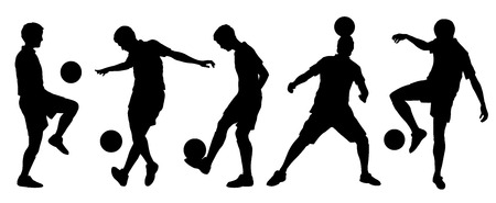 soccer tricks silhouettes on the white background