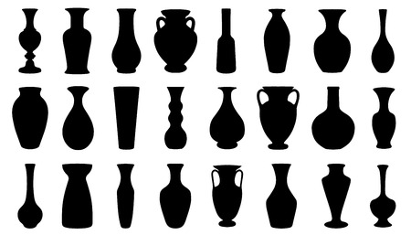 art museum: vase silhouettes on the white background