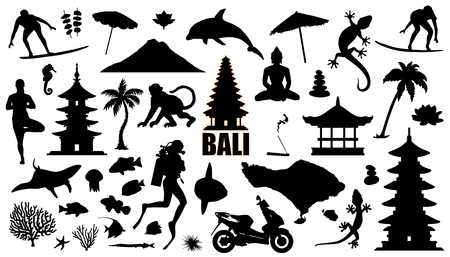bali silhouettes on the white background