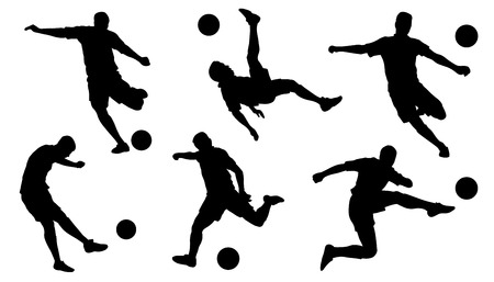 soccer shoot silhouettes on the white background