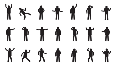 movement: stick figure various on the white background Illustration
